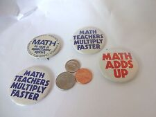 Vintage Lot of 4 Humorous Math Themed Pinbacks