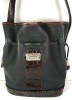 Vintage Black Leather with Brown Reptile Print Trim Bucket Shoulder Bag