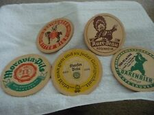 vtg MIXED LOT of 5 BEER cardboard COASTERS adverting SEE PHOTO`S FOE BRAND