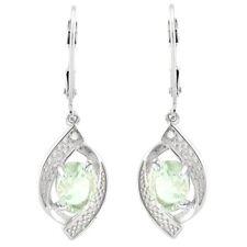 Ohrringe/Ohrhänger Ivanka, 925er Silber, 1,13 Kt. echter Grüner Amethyst/Diamant