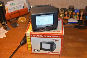 Vintage Mini TV S/W Portable Fernseher 12V + 220V 14 cm ICE TV 1003 m. Zub.