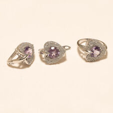 Natural Panorama Purple Amethyst 925 Sterling Silver Christmas Fine Jewelry Set