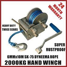 2000kg Hand Winch Dyneema Rope 3speed- Boat Car Marine Trailer