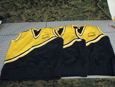 cheerleading lot of 3 vest blue and gold size lassorted USA made 100% nylon