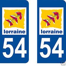 autocollants plaques immatriculation auto Département Meurthe et Moselle 54