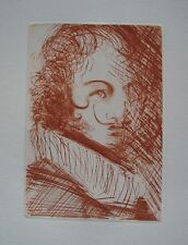 Salvador Dali SELF PORTRAIT Etching on Wove Paper with Certificate in Mint Cond