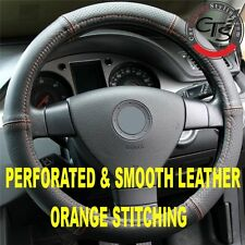 CAR STEERING WHEEL COVER PERFORATED & SMOOTH LEATHER ORANGE STITCHING