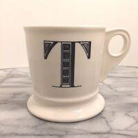 Anthropologie Monogram Letter T Alphabet White Black Shaving Style Mug Cup
