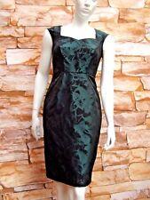 MONSOON ELLEN GREEN & BLACK SATIN JACQUARD SHIFT DRESS RRP £95 Size 8