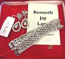 KJL Kenneth Jay Lane Faux Pearl Drop Silver Tone Earrings and Bracelet