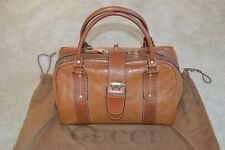d443957e259 Gucci Brown Boston Monogram Leather Large Zip Magnetic Womens Shoulder  Handbag