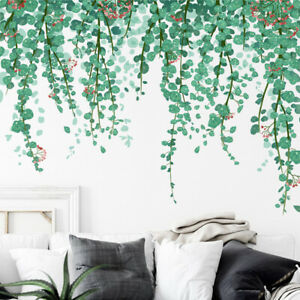 Removable Wall Stickers Nursery Tropical Plants Green Leaves Hanging Vines Mural