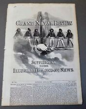 Illustrated London News GRAND NAVAL REVIEW 1856 engravings map Spithead US Navy