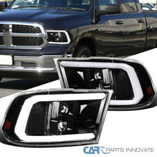 For 09-18 Dodge Ram Pickup Pearl Black LED DRL Tube Projector Headlights Pair