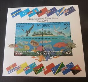 Nauru 1993 24th South Pacific forum MS MS414 bird fish MNH UM unmounted mint