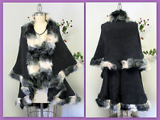 Elegant and Warm Celebrity Double Layered Faux Fur One Size Poncho, Cape Caplet