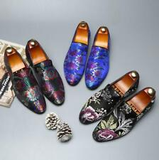 Fashion Mens Satin Slip On Loafers Smart Casual Dress Floral embroidery  Shoes
