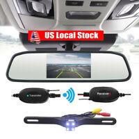 """4.3"""" LCD Monitor Car Wireless Backup Camera Kit Rear View Mirror Night Vision HD"""