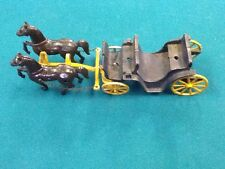 Vintage Stanley Cast Aluminum Toy 2 Horse and Carriage