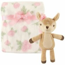 Hudson Baby Girl Plush Blanket and Toy, 2-Piece Set, Girl Fawn