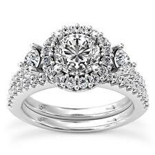 Halo Set 2.20 Carat SI1/G Round Cut Diamond Engagement Ring White Gold