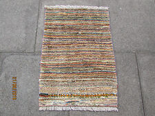 Traditional Hand Made Persian Oriental Gabbeh Rug Wool Gold Brown 90x65cm