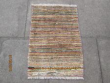 Traditionnel fait main persan oriental Gabbeh tapis laine brun doré 90x65cm