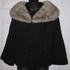 Vintage 1950 /60's Real Sheep Black Fur w/ Gray Fur Collar S / Small