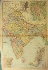 1894 Antique Map ~ India ~ Ceylon Calcutta Madras Environs Bombay Bengal