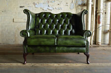 TRADITIONAL HANDMADE 2 SEATER GREEN LEATHER CHESTERFIELD SOFA COUCH CHAIR