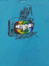 Quiksilver blue T-shirt with skeleton and TV graphic slim fit sz L