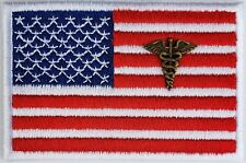 American Flag Medical Officer Patch iron-on White Edges Border