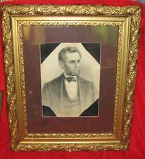 ABRAHAM LINCOLN STONE LITHO MOURNING PIECE W/ ORIGINAL BLACK CREPE: 1865