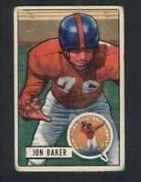 1951 Bowman #57 Jon Baker GVG NY Giants 100406
