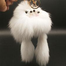 Real Fluffy Charm Rabbit Fur Car Handbag Pendant Key Chain Key Ring Fox Fur