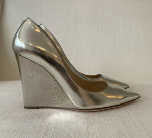 Jimmy Choo Silver Mirror Wedges Size 38 NEW