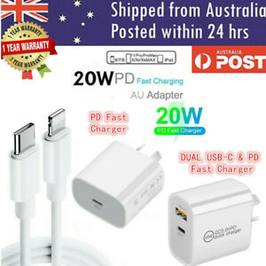 For iPhone 12 11 Pro Max iPad 20W USB Type-C Wall Adapter Fast Charger PD Power