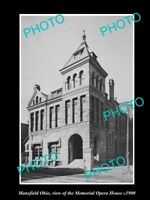 OLD LARGE HISTORIC PHOTO OF MANSFIELD OHIO THE MEMORIAL OPERA HOUSE c1900
