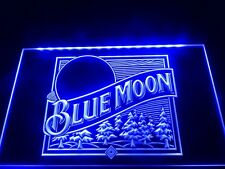 12x8 Inch Blue Moon Led Neon Sign On/Off switch plugs into mains bar pub mancave