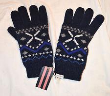 Jack Wills Mens Navy Blue Fairisle Neath Lambswool Rich Knitted Gloves BNWT