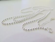 24 inch Solid 925 Sterling Silver Necklace 2mm Bead Link Chain S925