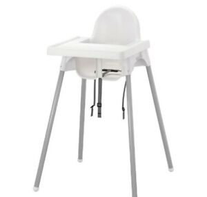 ANTILOP High Chair With Tray, White/Silver - Brand New