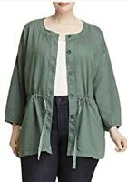 Eileen Fisher Woman Plus 3x Organic Cotton Drawstring Jacket, Nori Green