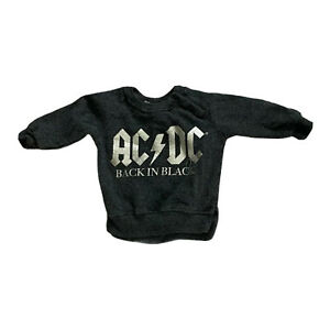 AC/DC Back In Black Crew Neck Gray Sweatshirt Size 3-6 Months ACDC Rock Band