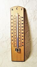 '50s spirit filled wood thermometer world scale:-Reaumur + Celsius +Fahrenheit