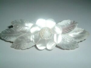 Hand Carved Mother of Pearl Floral Hair Barrette NWT in Gift Box
