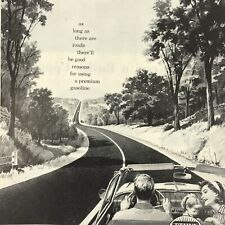 Ethyl Gasoline Fuel Magazine Print Ad Vintage 1957 Original Car Truck Man Woman
