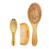 3 pcs bambou en bois brosse à cheveux coussin d'air peignes ensemble