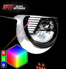 07-17 JK Wrangler Rock Crawler Black RGB LED Headlight DRL+Hi+Lo Beam+Cree LEDs