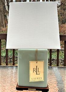 Ralph Lauren Square Green Sage Crackle Porcelain Lamp Table Accent Desk Office